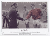 HRH The Duke of Edinburgh is introduced to Manchester United's Bill Foulkes prior to the 1963 FA Cup Final.