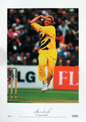 Superb specially commissioned limited edition picture showing Shane Warne in action during the 1999 ICC World Cup, as Australia are crowned World Champions.