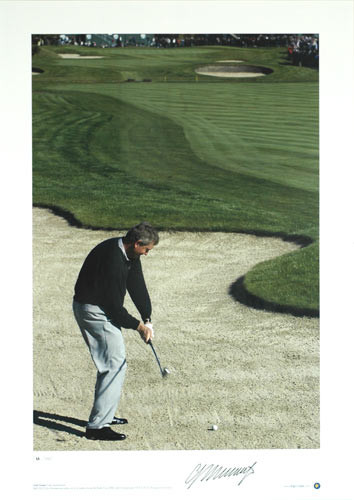 Colin Montgomerie plays out of a bunker during the Ryder Cup 2002, which Europe won 15.5 to 12.5. Superb limited edition picture.