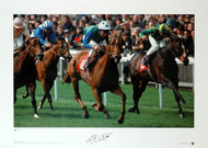 Racing legend Lester Piggott wins the 1992 2000 Guineas on Rodrigo de Triano, his 30th Classic victory. This superb specially commissioned hand numbered Limited Edition picture of just 250 has been signed personally by Lester Piggott. Nice item and great addition to any collection.
