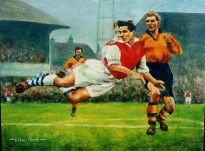 On offer is a limited edition print by renowned artist Brian West showing Derek Tapscott (Arsenal) with a flying header in front of Ron Flowers and Bill Slater (Wolves) 1955.