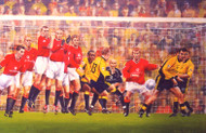 On offer is a limited edition print by renowned artist Brian West showing that goal! Danny Murphy's free kick beats the red wall (Murphy's jubilant face is hidden in the crowd between Babbel's head and the crossbar).