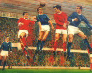 On offer is a limited edition print by renowned artist Brian West. George Best demonstrates his heading ability against an unfamiliar blue Gunners. L-R Graham, Crerand, Mclintock, Best, Radford and Stiles.