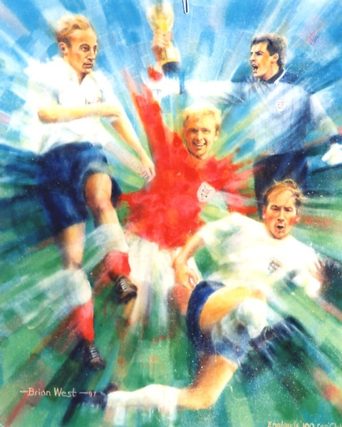 On offer is a limited edition print by renowned artist Brian West. England's 100 Cap Club - World Class Players All (1997).