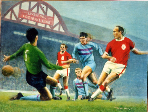 On offer is a limited edition print by renowned artist Brian West. Liverpool V West Ham United at Anfield 1963, Jimmy Melia slotting the ball past goalkeeper Jim Standen, anxiously watched by Ian St John, Bobby Moore and Martin Peters.