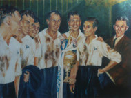 On offer is a limited edition print by renowned artist Brian West. Spurs dressing room celebration, first division champions 1951. On the roll from winning Division 2, are now back to back champions. L-R Medley, Walters, Willis, Burgess, Murphy, Baily & trainer Cecil Poynton.