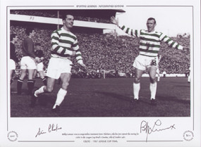 Chalmers and Lennox celebrate during the 1967 Scottish League Cup Final