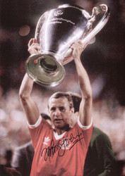 May 28th 1980, Santiago Bernabeu Estadio, Madrid. Nottingham Forest's John McGovern lifts the European Cup after their 1-0 victory over Hamburger SV of West Germany. A goal from John Robertson in the 21st minute was enough to earn Forest back to back European titles.