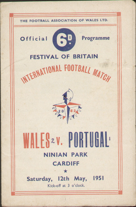 On offer is an original Official programme for the international match Wales V Portugal (Festival of Britain) played on 12 May 1951 at Ninian Park, Cardiff.