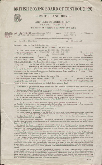 original Boxing Contract for former European Featherweight Champion Ronnie Clayton. The contract is for his fight against Pierce Ellis held at the Liverpool Stadium, October 1946.