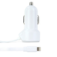 Gecko Car Charger with Flat Lightning Cable 2.4 Amp - White