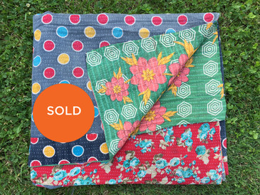 Lotus and Rose Polka Dot Kantha