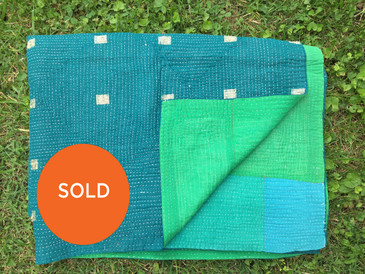 Solid Blue and Green Kantha Blanket