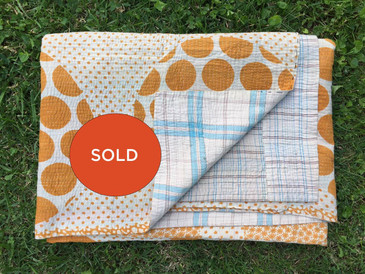 Yellow Polka Dotted Kantha Blanket