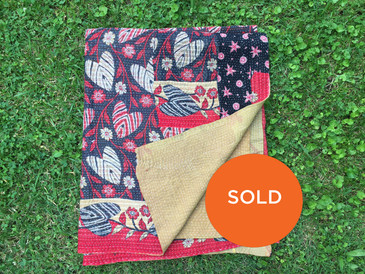 Red and Black Morning Glory Kantha