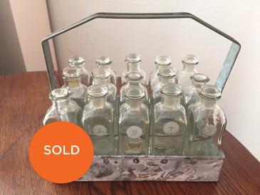 Vintage Bottle Set of 15 in Metal Caddy