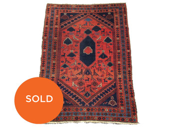 Antique Persian Tribal Rug with Animal Motif