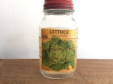 Original Mason Seed Jar from Zettler Hardware, Lettuce