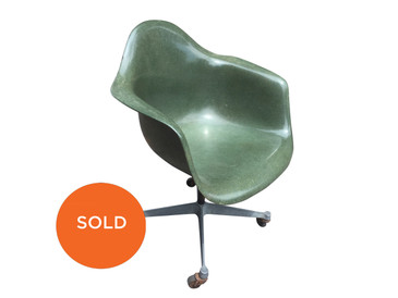 Vintage Eames, Herman Miller arm shell chair, olive green