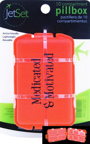 JetSet Medicated & Motivated 10 Compartment Pill Box