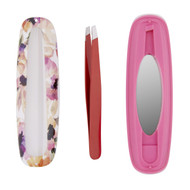 Onyx Professional Slant Tip Tweezers with Magnetic Mirror and Travel Case