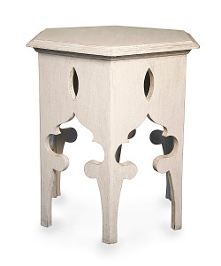 Hexagon Side Table in White Wash