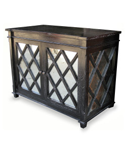Antique Glass Chest, Hand Rubbed Black