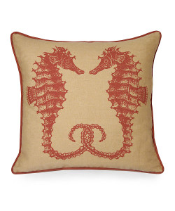 Seahorses Pillow, Coral