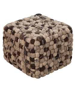 Grey and Taupe Wool Pouf