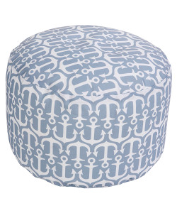 Ivory and Ash Gray Anchor Print Pouf