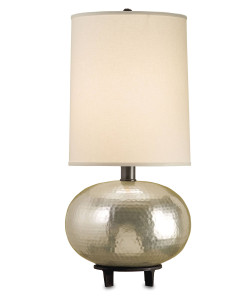 Luna Table Lamp, Hammered Silver