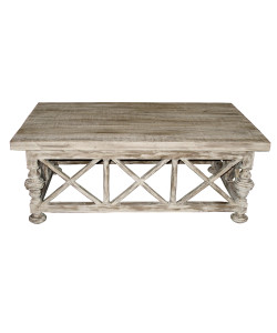 Coffee Table with X-Base in a Medium Antique Painted Finish