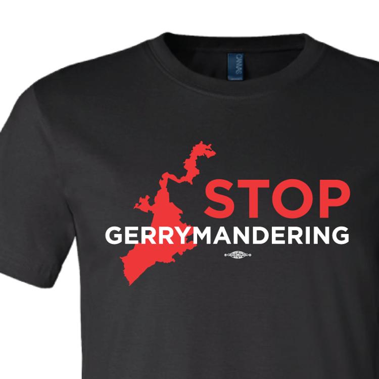 Stop Gerrymandering (on Black Tee)