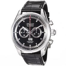 2fca121fc07 Zenith Mens El Primero Black Dial Black Leather Strap Watch 03.2050.4026 91.