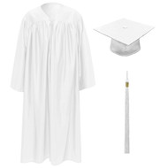 White Kinder Cap, Gown & Tassel