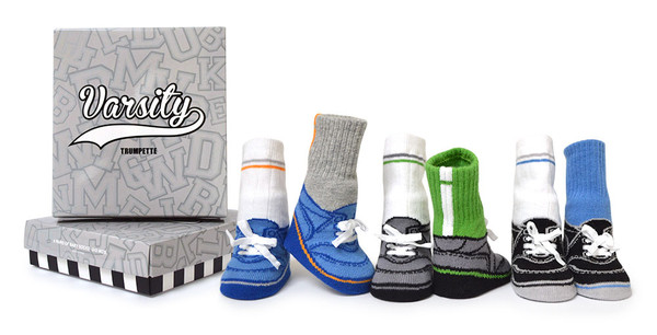 Six pairs of baby or infant socks for boys ages 0 - 12 months.  These baby socks look like socks and shoes and have faux laces.