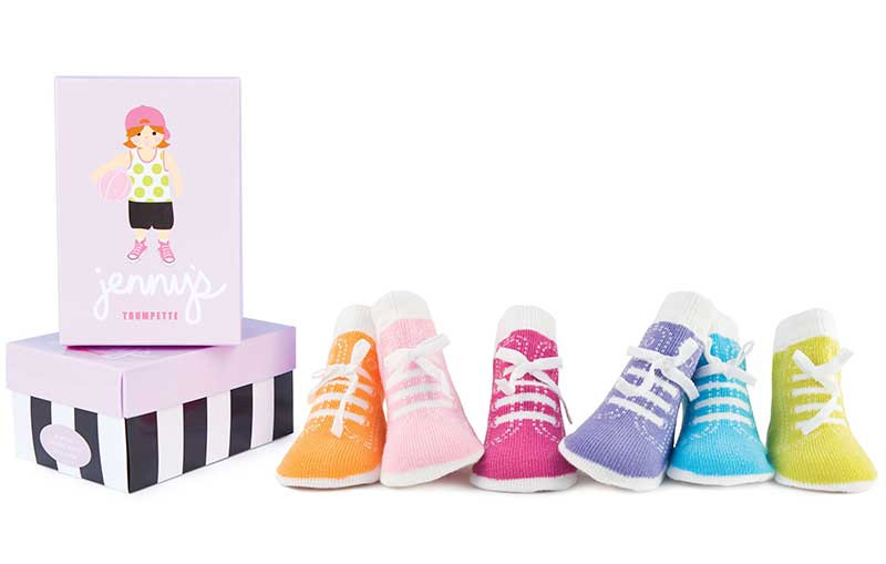 6 pairs of cotton baby socks for girls in a gift box.  Socks have faux laces to make them seem like shoes.  Pastels.