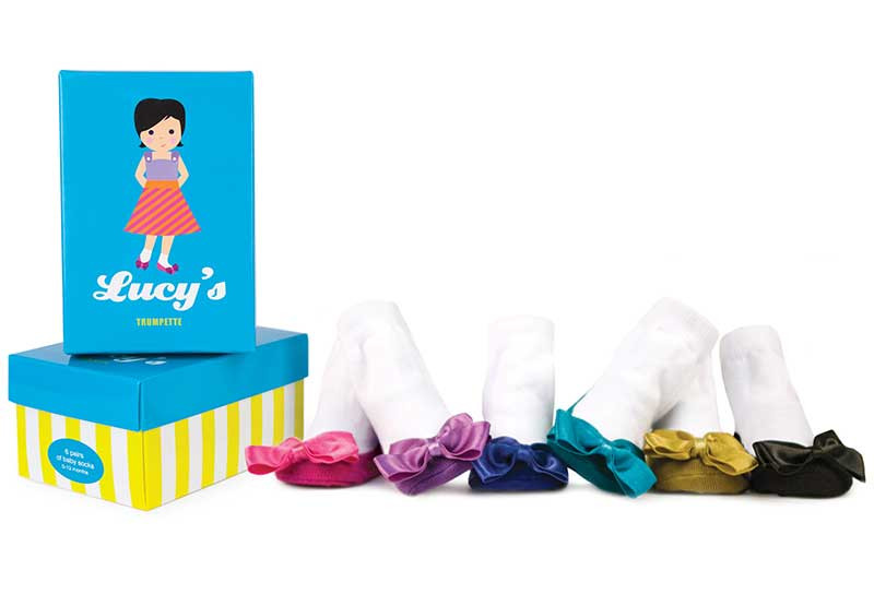 6 pairs of cotton socks for baby girls in a gift box.  Bows on the toes in jewel colors.