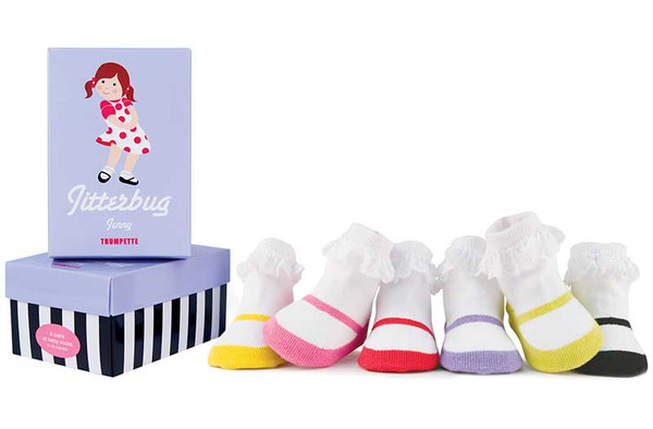 6 pairs of cotton baby girl socks in a gift box designed to look like mary jane shoes in yellow, pink, red, lavender, green and black.