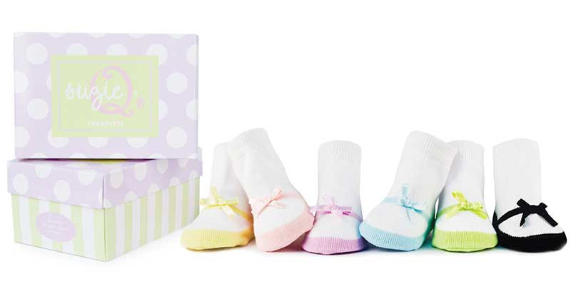 6 pairs of white socks with pastel toes that look like mary janes.  For Girls.  In a gift box.