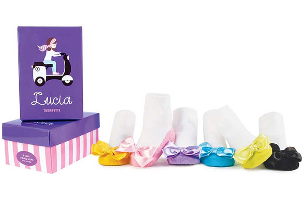 6 pairs of cotton baby socks for girls in a gift box.  Satin bows on toes.  Pink, Purple, Blue, Green, Gold and Black