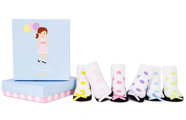 6 pairs of baby girl socks in a gift box.  Polka dots and silk bows on the toes.  Variety of colors