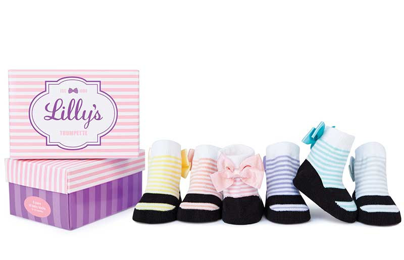 6 pairs of cotton baby socks for girls in a gift box. Back bows. Variety of colors.  Look like mary jane shoes.