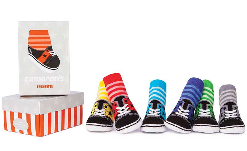 6 pairs of cotton baby socks for boys and girls in gift box.  Look like athletic shoes.
