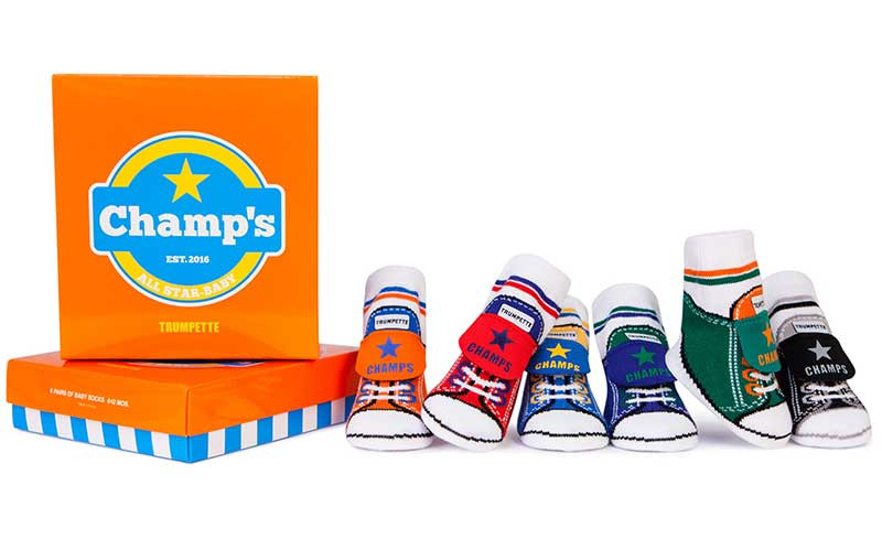 Cotton socks for babies in gift boxes.  Look like athletic shoe sneaker.