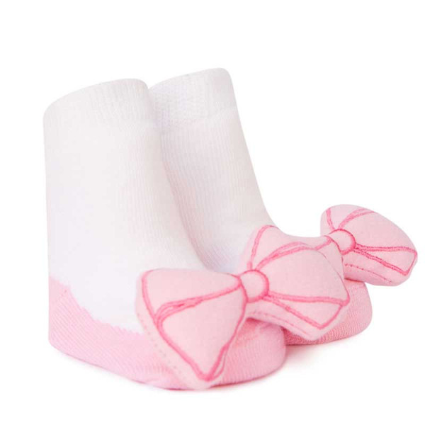 White and pink baby socks for girls.  Look like shoes with bows.  Bows are Shakers (rattles).