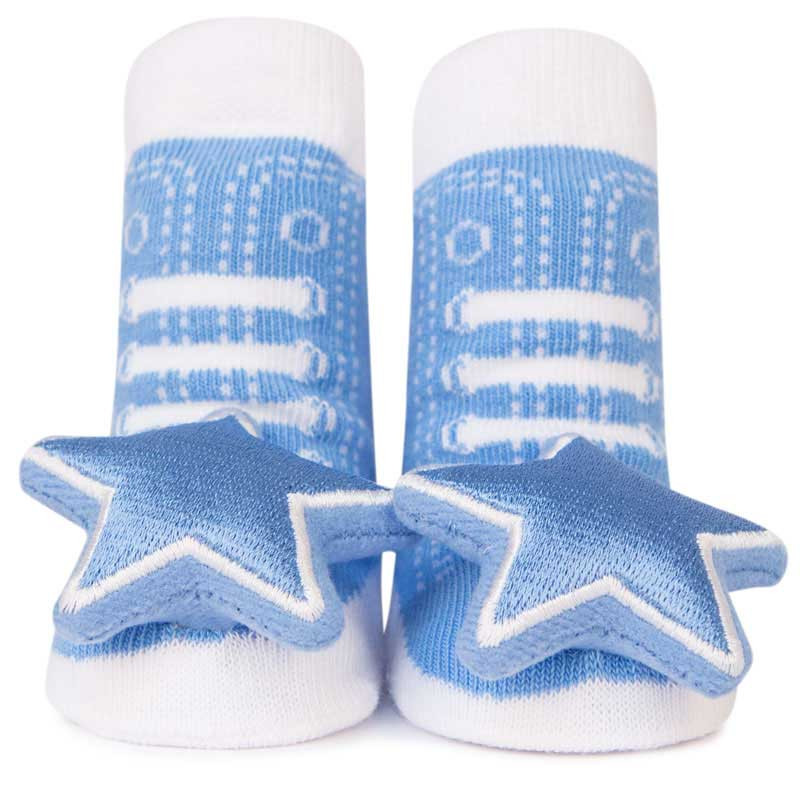 Cotton baby socks that look like high top sneakers. Shaker toy (rattle) attachment