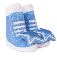 Cotton baby socks that look like high top sneakers. Shaker (rattle) attachment