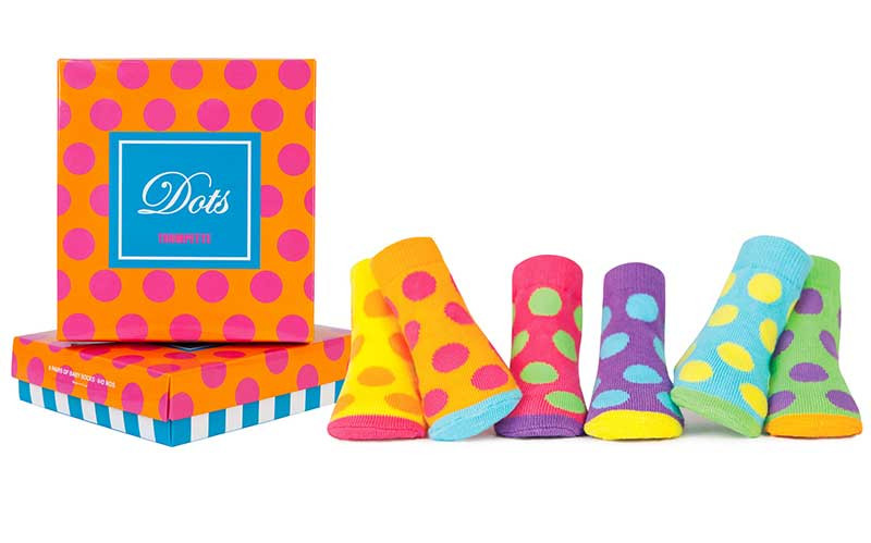6 pairs of brightly color cotton baby socks with polka dots in a gift box.  For girls and boys