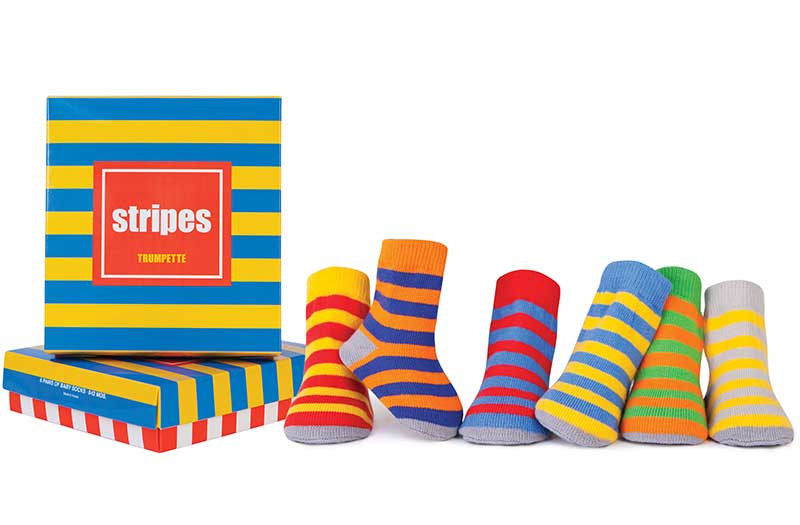 6 pairs of cotton striped socks for babies and infants in a gift box.   Bright colors.